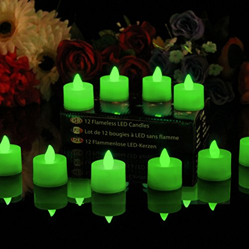 12 Candele a Batteria Lumini LED Verdi - Tea Lights senza Fiamma per Camera, Compleanno, Feste, Decorazioni di PK Green