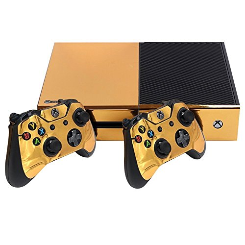 Stillshine Xbox ONE Design Folie Aufkleber für Konsole + 2 Controller + Kamera Sticker Skin Set (Glossy Gold)