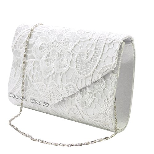 Wocharm (TM) Ladies Lace Envelope Clutch Bag Evening Bag Bridal Wedding Bag Handbag Prom Bag (White)