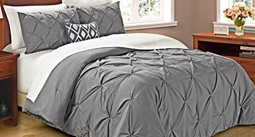Cathay Home Oasis Pintuck Tröster Set, Full/Queen, grau