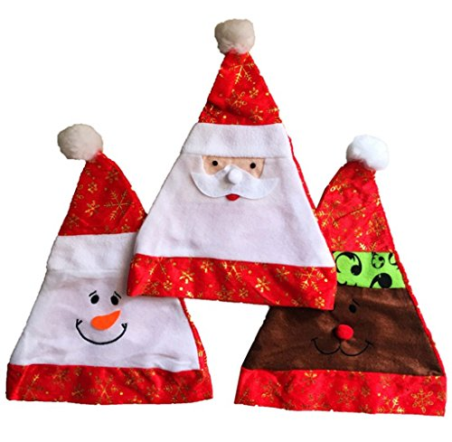 Freessom 3pcs Chapeau de Noël Adulte Bonnet Père Noël Ado Doux Peluche Avec Pompon Christmas Déguisement Femme Homme Fille Garcon Motif Renne Bonhomm de Neige Pas Cher Cadeau (Rouge Blanc2)