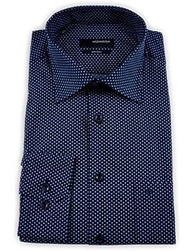 Seidensticker Herren Langarm Hemd Regular Fit Kent blau strukturiert 110800.19