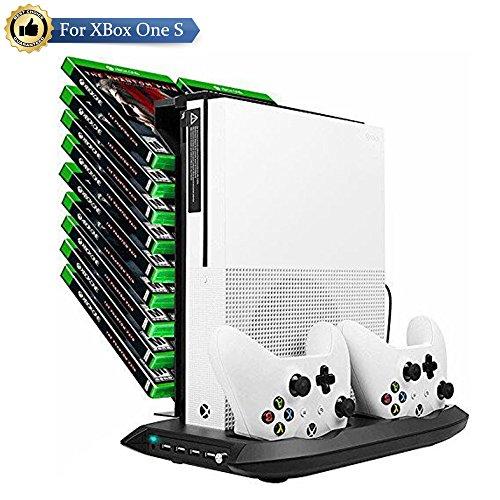 Dual Base (LILY Xbox One S Base Standfuß mit Kühlgebläse,Dual Ladestation für Xbox One Controller mit 4 USB Hub und 18 Schlitz-Spiel-Speicher,Schwarz(Nicht für Xbox One X))