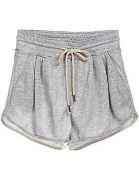QitunC Donna Estivi Pantaloncini Culottes Coulisse Vita Elastica Casuale Sport Pantaloni Corti Hot Pants Grigio...