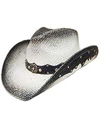 Modestone Straw Chapeaux Cowboy Leather-Like Appliques Grey
