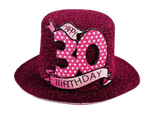Anik-Shop Mini GEBURTSTAGSHUT Clip Happy Birthday 18/30/40/50/60/70 Jahre Geburtstag Party Hut Deko Spaß Hutzylinder (30 Jahre)