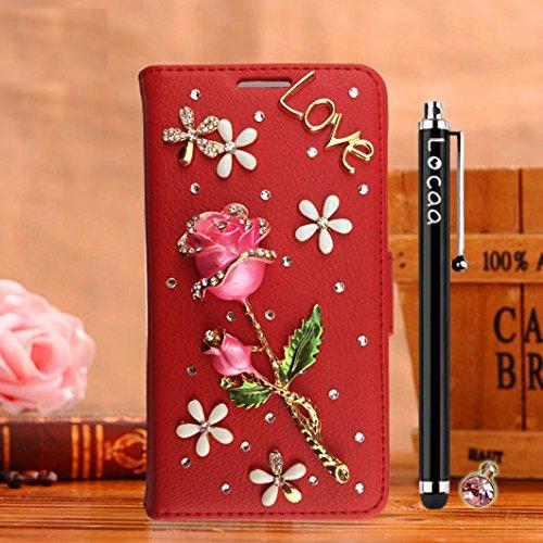 Locaa(TM) Pour Apple IPhone 7 Plus IPhone7+ (5.5 inch) 3D Bling Rose Case Coque Fait Love Cuir Qualité Housse Chocs Étui Couverture Protection Cover Shell Phone Nous [Rose 1] Blanc - Rose Bleu Rouge - Rose Rouge Clair