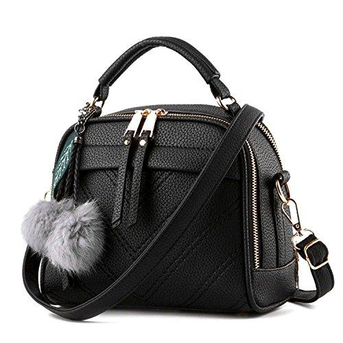 Fantastic Zone Damen-Handtaschen, Schultertaschen mit Tragegriff, Schwarz (schwarz), Einheitsgröße -