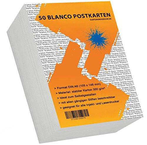 50 Blanko Postkarten / Postkarten blanco DIN A 6 weiß 300 g/qm / Postkarten zum Selbstgestalten...