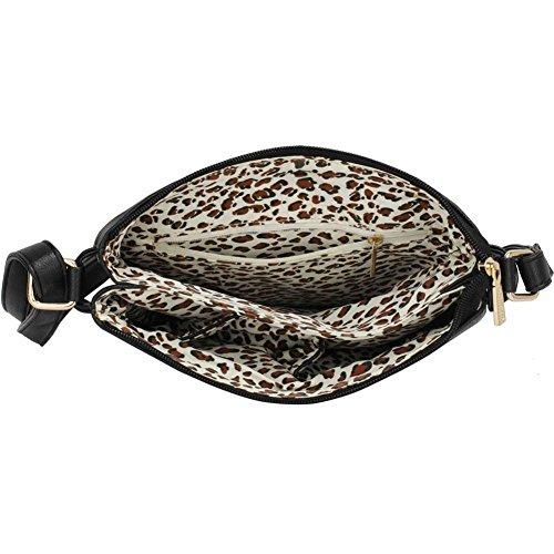 LeahWard® Damen Kreuzbeutel Handtasche Damen Bote Berühmtheit Stil Schultertasche LWS00470 LW5027 LW5022 LWS00470-Schwarz (24.5x4x27cm)