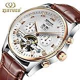 High-end-Mode Wasserdichte Geschäftsuhr Tourbillon-Hohle automatische mechanische Uhr Dual Kalender beiläufige Uhr für Männer
