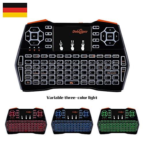 Mini Tastatur Beleuchtet (92 Tasten DE QWERTZ) mit Touchpad 2.4GHz Wireless Keyboard für Smart TV, HTPC, IPTV, Android TV Box, XBOX360, PS3, PC, etc (Deutsche Tastatur)