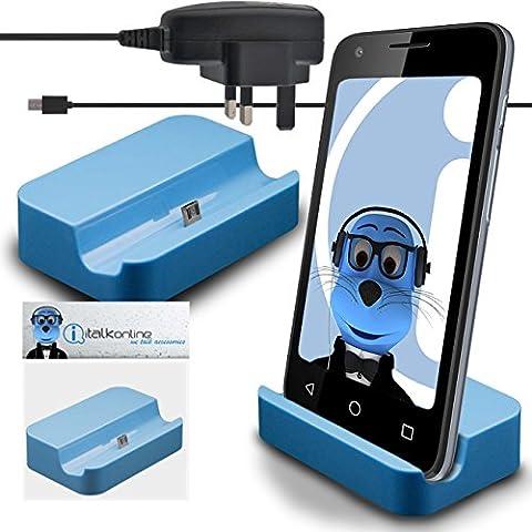 iTALKonline Samsung Galaxy On5 Pro Blu Micro USB Sincronizzazione e Ricarica / ricarica Desktop Dock stand di ricarica con 3 pin UK 1000 mAh MicroUSB CE approvato Caricabatterie corrente