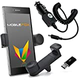 Mobilefox KFZ Handy Lüftungshalterung 360 verstellbar inkl. Micro-USB Ladekabel SET für Sony Xperia XZ/X Compact Schwarz