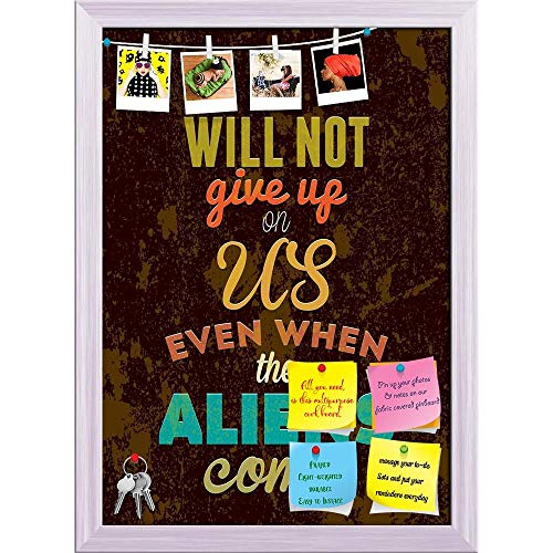 ntine Typography Art Printed Bulletin Board Notice Pin Board | White Frame 16 X 22.5Inch ()