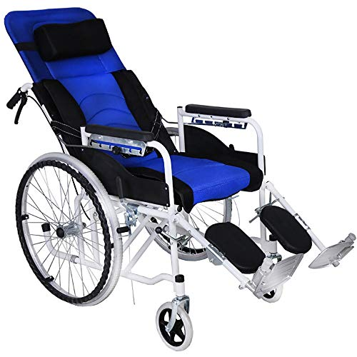 Rollstuhl Komfortabel Und Atmungsaktiv Multifunktionsklapp Voll Liegend Abnehmbarer Tragbarer Reise-Stuhl Ältere Behinderte Mit Töpfchen (Color : Blau) (Hohe Rollstuhl)