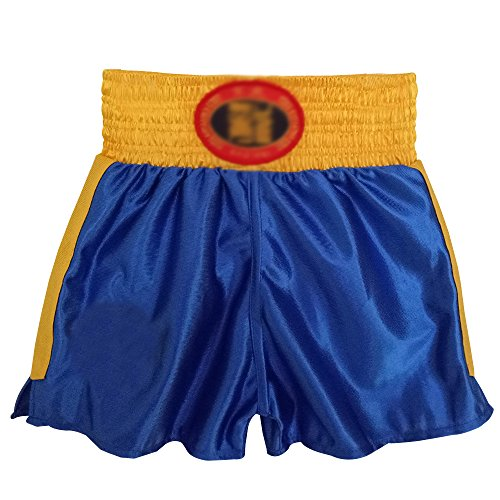 KINDOYO Muay Thai Shorts Kampfsport Boxen Thaibox Hose Kickboxen Trainingshorts Kurze Sporthose, Blau