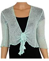 LADIES PLAIN KNITTED CROPPED TIE UP BOLERO SHRUG TOP - MASSIVE RANGE OF COLOURS FIT ALL SIZES