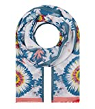 Majea Schal Damen Tuch Kopftuch Halstuch Schals und Tücher mit Muster Stola (blau 1)