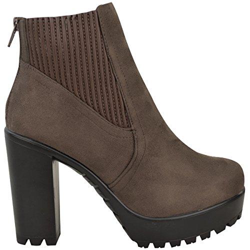 Femmes Mesdames Bottines Élastique Talon Haut Bloc Semelle Compensée Chelsea Chaussures Pointure Brun Foncé / Taupe Faux Daim