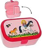 Unbekannt Lunchbox / Brotdose -  Lotte und Ihr Pony & Pferd  - mit extra Einsatz / herausnehmbaren Fach - Brotbüchse Küche Essen - für Mädchen & Jungen - Schimmel Blu..