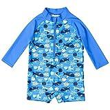 CharmLeaks Baby - Einteiler Langarm Badeanzug für Säugling Kinder Ozean UV-Schutz Reißverschluss vorne Blau 50+ 3-6 Monate