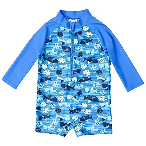 CharmLeaks Baby - Einteiler Langarm Badeanzug für Säugling Kinder Ozean UV-Schutz Reißverschluss vorne Blau 50+ 6-12 Monate