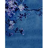 A.Monamour Vintage Mottled Floral Flower Print 5x7ft Fabric Vinyl Photography Backgrounds Deep Blue Tie-dye Backgrounds Fabric