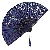 Amaoma Ventaglio Giapponese da Parete Ventaglio Pieghevole in Seta con Bamboo Ventagli con Nappa per Matrimonio Ballo Cosplay Estate Parete Fai da Te Decorazione (Farfalla con Sakura)
