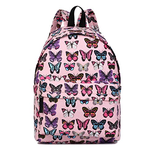 Butterfly Flower Polka Dot Retro Fashion Backpack Rucksack (Butterfly Pink)