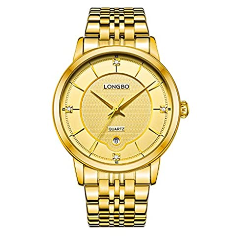 LONGBO Men's Luxury Gold Stainless Steel Band Business Watches Waterproof Auto Date Calendar Analog Quartz Wristwatch Rhinestone Crystal Accented Gold Dial Couple Dress Watch For Gentleman