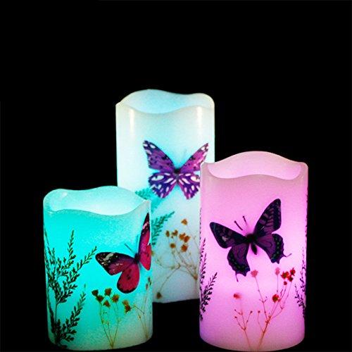 Brennende Lampe (Etbotu LED Kerze Licht 3pcs bunte ändernde rauchfreie nicht brennende Schmetterling Atmosphäre dekorative Lampe mit 18 Tasten Fernbedienung)