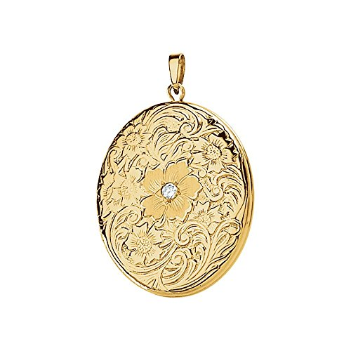 Gelbgold geprägt floral-inspired Oval Medaillon (Gelbgold Medaillon-armband)