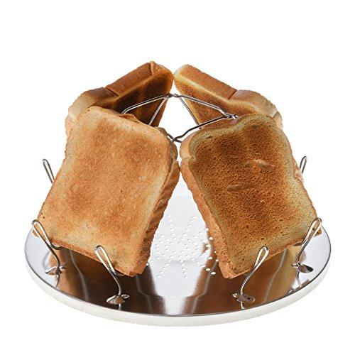 Campingtoaster Justcamp Golden, 4 Scheiben Toast, Toaster Aufsatz für Gaskocher, Campingkocher, teilweise Edelstahl, Silber, faltbar, platzsparend (Schwarzbrot Kann)