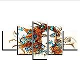 zhfq 200 * 100KreuzstichLeinwandmalereihd Print Wandkunst Moderne 5 Schöne Frau Und Blauer Schmetterling Leinwand Gemälde Wohnzimmer Dekorativen Rahmen-100Cm Frame