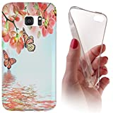 Samsung S7 G930F Softcase Hülle Cover Backkover Softcase TPU Hülle Slim Case für Samsung Galaxy S7 G930F (1102 Orchidee Schmetterling Rosa Grün Blau)