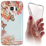 Samsung S5 Mini G800 Softcase Hülle Cover Backkover Softcase TPU Hülle Slim Case für Samsung Galaxy S5 Mini G800 (1102 Orchidee Schmetterling Rosa Grün Blau)