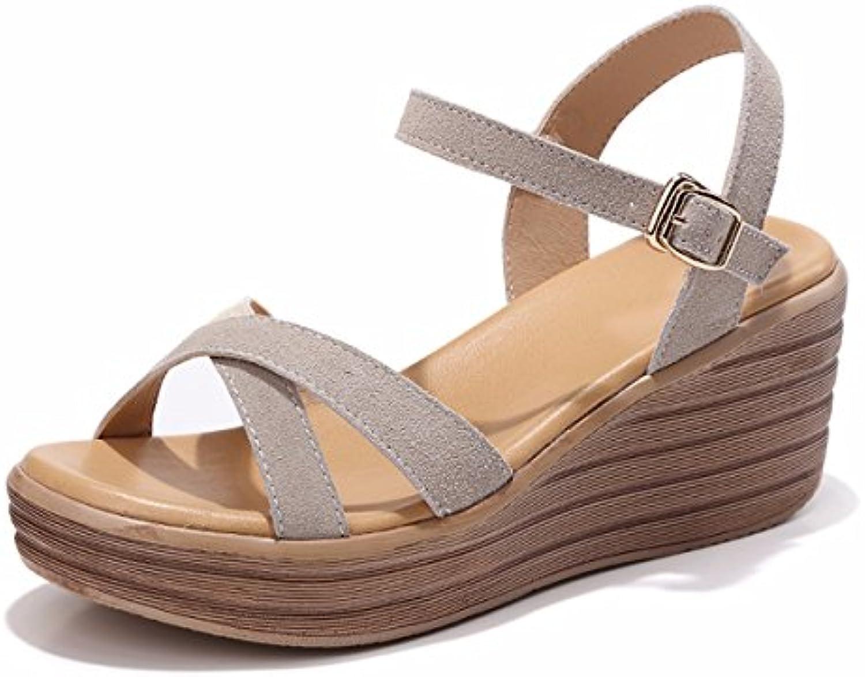 QPSSP Zapatos De Cuero Con Tacones Y Sandalias,Treinta Y Ocho,Gray