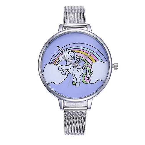 Souarts Damen Armbanduhr Einfach Mesh Metallarmband Flamingo Ananas Einhorn Regenbogen Casual Analoge Quarz Uhr Silber Farbe Einhorn Mädchen Uhr (Siber 2)