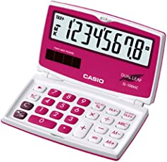Casio SL-100NC-RD Portable Calculator (White and Red)
