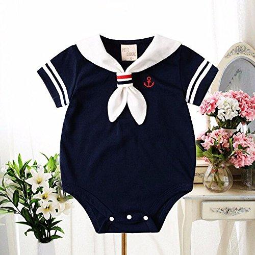 Matrose Kostüm Mädchen Kleinkind - Zooarts Unisex-Babystrampler für Neugeborene, Matrosen-Look, für Fotoaufnahmen oder als Sommeroutfit geeignet, für Mädchen und Jungen von 0 bis 24 Monaten, Baumwollmischung, blau, 80 cm(12-18 Monate)