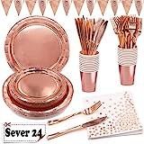 Assiette Jetable Rose et Or Serviette Papier Gobelets Couteaux Fourchettes Bannière Triangle Fête Anniversaire Kit Rose Gold 24 Invités