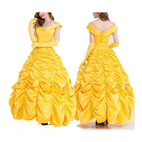 Halloween Adult Prinzessin Dress, Cosplay Abendkleid-Partei-Kleid-Gelb gefaltete Rock-Gelb-Kostüm Königin mit Handschuh Brautjungfer (80's Rock Band Kostüm)