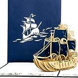 """'Pop Up carte """"Carte de 3master Bleu, navigation, bateau   Voyage Bon d'achat, 3D pop up carte Navires, vacances Bon d'achat, carte d'anniversaire..."""