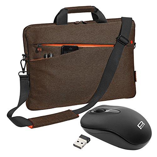"""PEDEA Notebooktasche """"Fashion"""" für 17,3 Zoll (43,9cm) mit Zubehörfach, Schultergurt und schnurloser Maus, braun"""