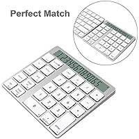 Cateck 2-in-1 Aluminium Bluetooth, kabelloses Smart-Nummernpad & Taschenrechner mit 28 Tasten für kabellose Apple Magic Keyboards mit eingebauten Lithium-Akkus