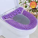 BAOZIV587 Siège de toilette coussin de siège de toilette universel étanche siège de toilette siège de toilette coussin de siège de toilette pâte siège de siège de housse de toilette, lac léopard bleu bande boucle pourpre
