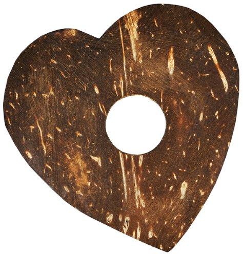 Kokos Ornamente Herz natur 50-65 mm ca. 10 Stck., Kokos Herz braun, Naturdeko, Tischdeko Hochzeit