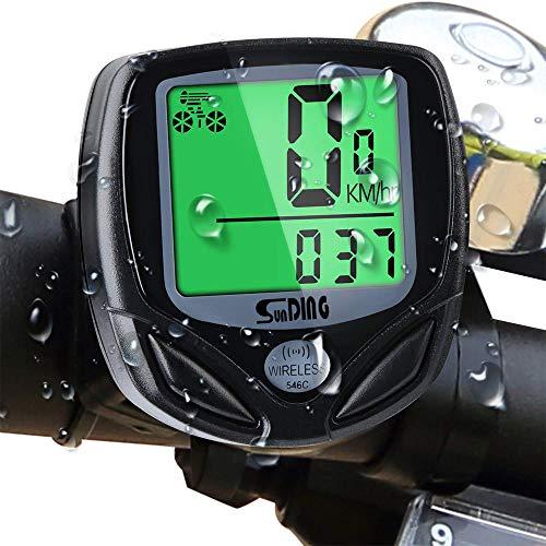 Mitening Compteur de Vélo étanche sans Fil, Multifonction Ordinateur de Vélo avec Rétroéclairage LCD d'affichage de l'écran, Compteur de Vélo Tacho pour Vélo Realtime Speed Track et Distance