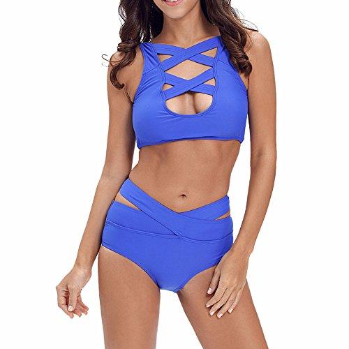Addfect Cross Bondage Hollow Damen Frauen Bikini Set mit Triangel Push up mit Gepolstert Strandkleidung Strandmode (EUR40-42(XX-Large), Blau)